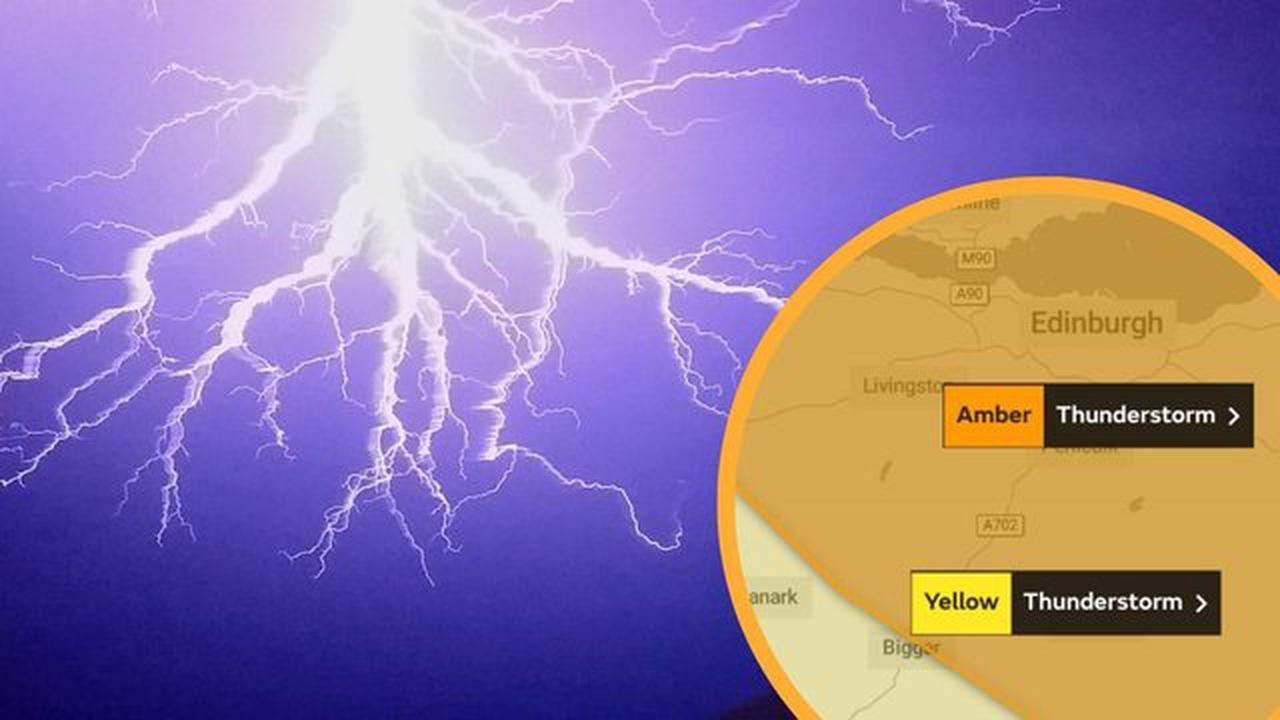 Edinburgh weather: Yellow weather warning for thunderstorms upgraded to Amber for Edinburgh and the Lothians