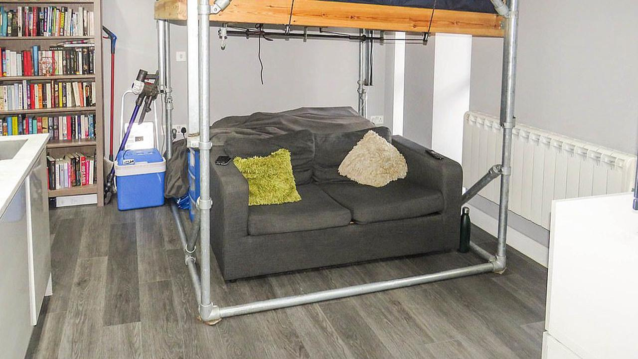 Sleep-OVER! Tiny studio flat that is so small the bed is ABOVE the sofa goes on sale for a whopping £140,000 in the centre of Bristol