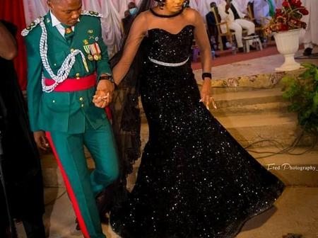 Reactions as lady rocks black gown on her wedding day