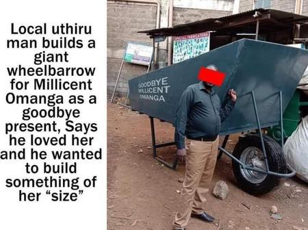A local Uthiru Man builds a giant wheelbarrow for Milicent Omanga(photos)