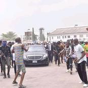 See How Senator Akpabio Was Received In Akwa Ibom As He Arrived For Nsikak Eduok's Burial