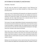 EFF Statement On The Passing Of Lufuno Mavhunga - OPINION