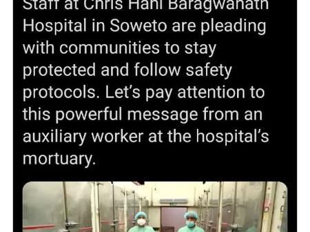 Dr Zweli Mkhize shares a heartbreaking message from a mortuary worker