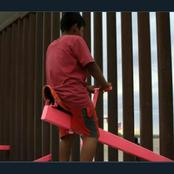 Americans react over a picture showing children playing at the wall dividing them and Mexico.