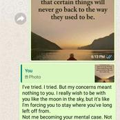 Check out the break up message man sent to his lover after she neglected him