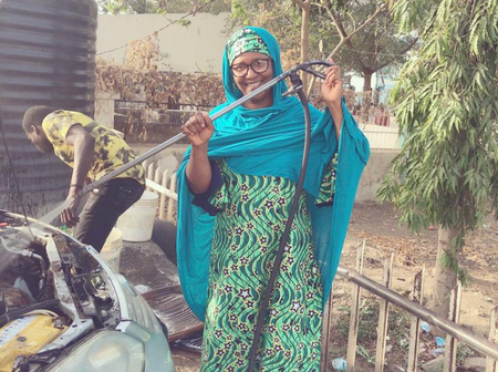 Meet the only woman known to be involved in car wash business in Kano State