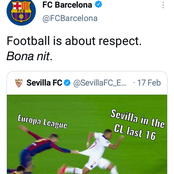 FC Barcelona Finally Replies Sevilla FC Twitter Post That Was Mocking Barca