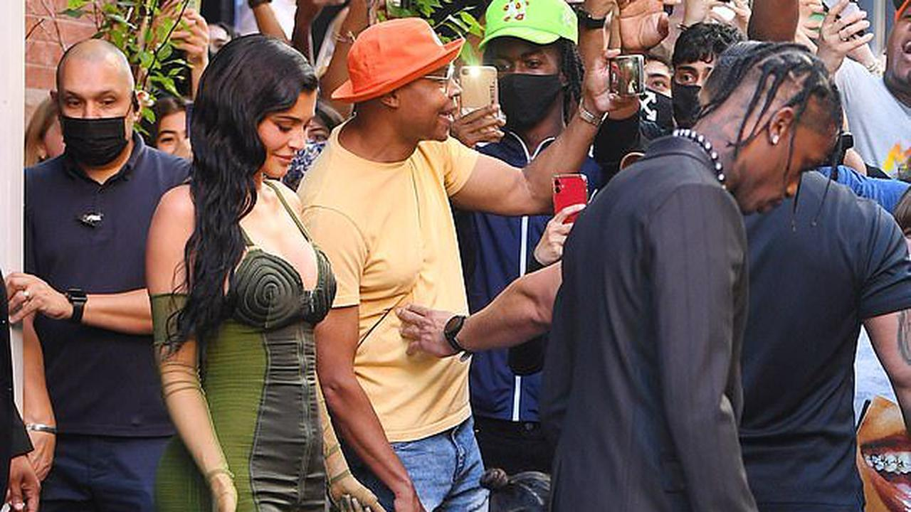 Kylie Jenner works her magic in plunging green dress as she and daughter Stormi support Travis Scott at Parsons Benefit in NYC