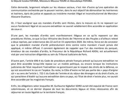 ''Guillaume Soro dispose de tous les documents légaux pour séjourner en France'' selon ses avocats