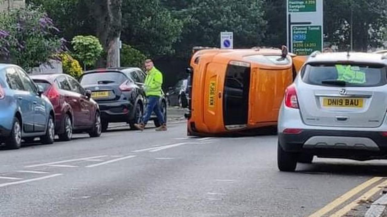 Dramatic picture shows overturned car on main Folkestone road during rush hour