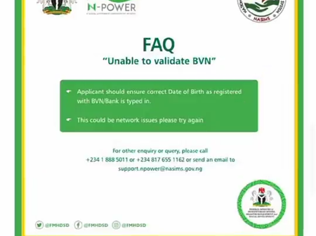 N-POWER SHORTLIST: If You Are Unable To Validate Your BVN, Take Note Of This Vital Information