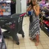 Drama as white woman takes off G-string in supermarket and wears it as face mask