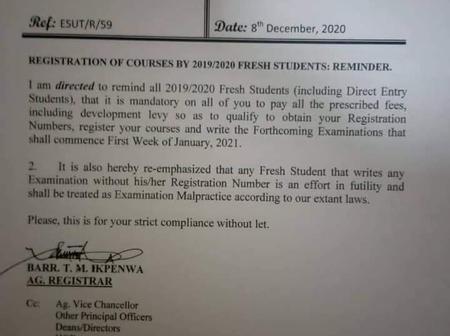 ESUT: Esut (ENUGU STATE UNIVERSITY) memorandum Emphasising on their Examination.
