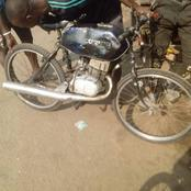 A man transformed his bicycle into a motorcycle in lagos [Photos]