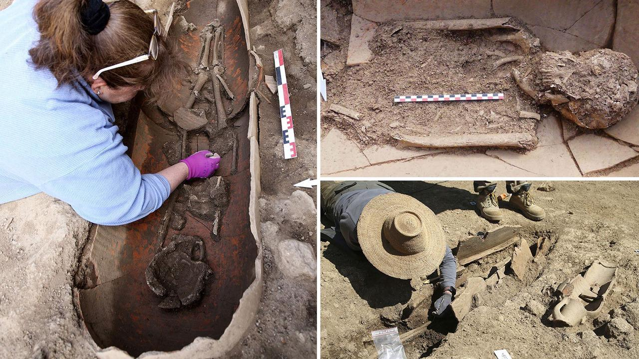 Ancient human skeletons buried in giant POTS found on French island