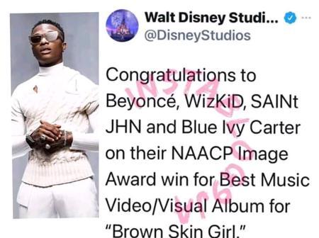 Walt Disney Studio Congratulates Wizkid, Beyonce, Saint JHN and Blue Ivy Carter On Their NAACP Award