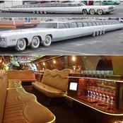 Longest car in the world. It has a helicopter landing pad, a jacuzzi and a king size water bed