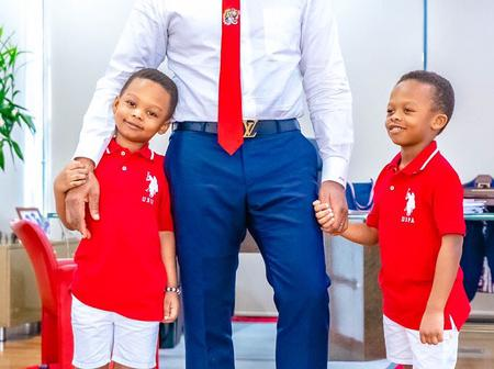 See Lovely Pictures of Tony Elumelu, His Beautiful Wife and Their Twin Sons