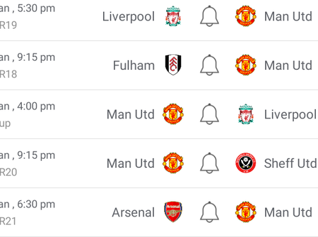 See Manchester United next 5 Premier League matches