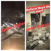 Exclusive: Venza Rams A Keke Napep Off Its Lane, Bursts The Wall Of A Man's House In Sapele