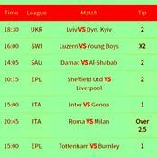 Super Sunday's Mega Winning GG, Over,2.5 Goals With 403.32 odds ie Man U, Tottenham, Roma, Liverpool.
