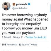 Yemi Alade vows never to Lend anybody Money again