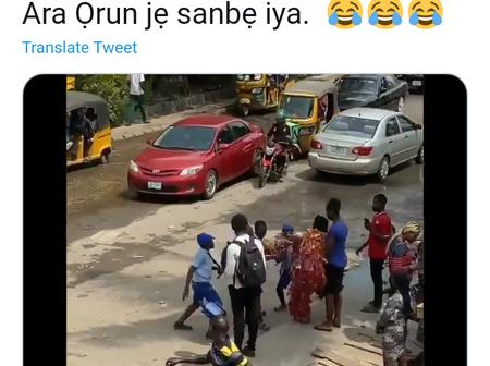 Video: Drama as school children beat masquerade in Lagos