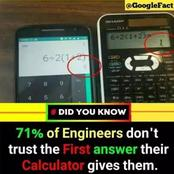 71% of Engineers don't trust the first answer their calculator gives them: science facts for you.