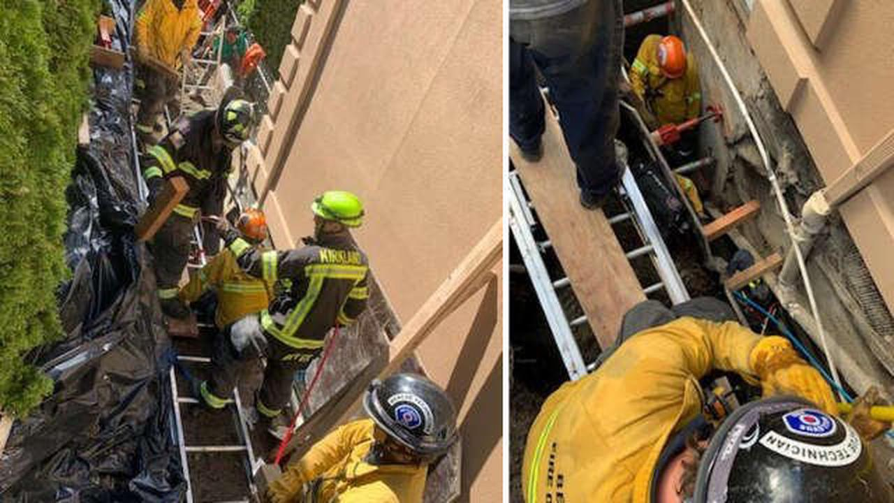Construction worker trapped in partially collapsed trench rescued