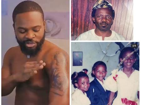 Falz tattooed faces of family members on his hand