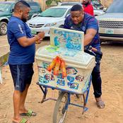 Cubana Chief Priest Seen With Ice Cream Truck in Owerri, Imo State.