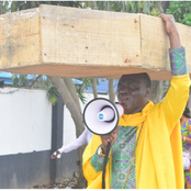 Check Out Why Archbishop Benjamin Was Walking The Street Of Lagos With A Coffin (Photos)