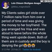 Sales Girl Stole N7Million From Her Boss To Give Her Lover, See What He Did With It