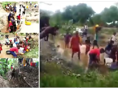 Water Scarcity Hits Abuja As Residents Resort To Unclean Stream, Watch VIDEO HERE