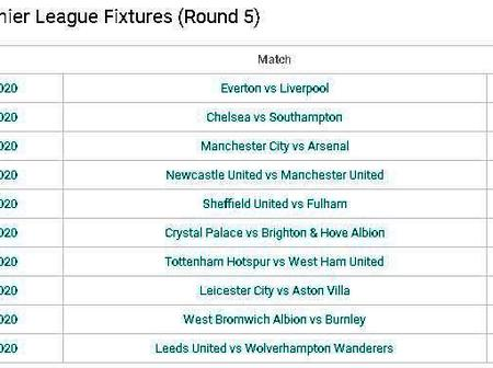 English Premier League Fixtures (Round 5).