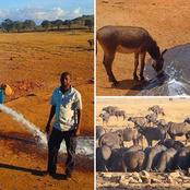 Checkout Photos Of A Man Who Drives Hours In Drought To Provide Water For Animals In Kenya.