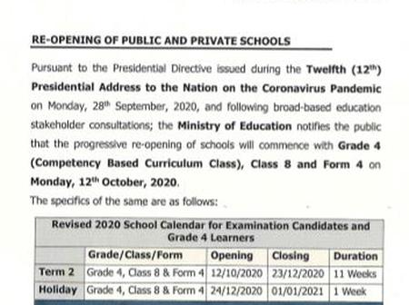 Education stakeholders' views as the Government Ordered phased re-opening of schools