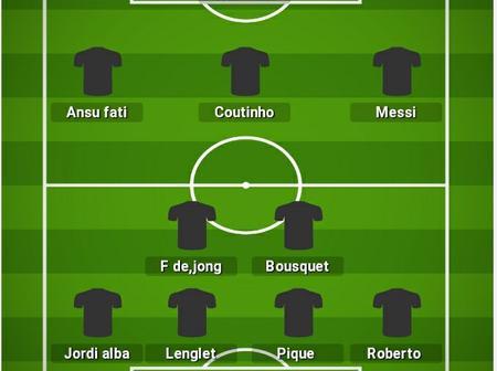 Five possible line up that Bacerlona could use to batter Celta Vigo
