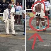 What Is This Again? See A Man Spotted Wearing A Torn Coat Dress In Public