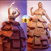 See the dress a lady made with bags causing reactions on IG