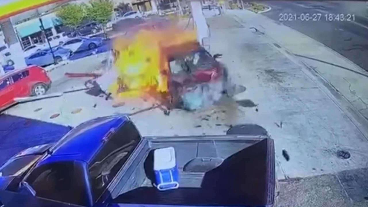 Surveillance video captures moment car slams into gas pump in Auburn