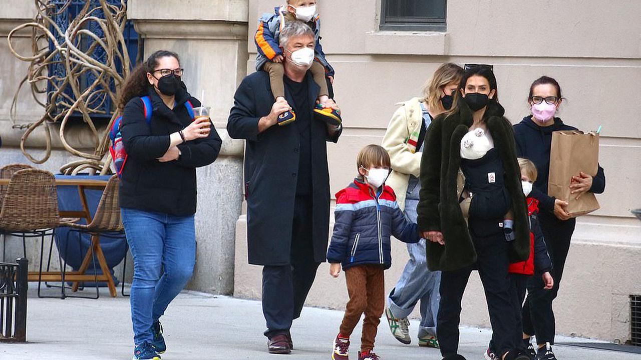 The Baldwin brood go for a walk! Alec, 63, and wife Hilaria, 37, have their hands full as they step out for a stroll with four of their six children in New York City