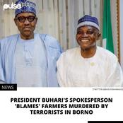Reactions as Buhari's spokesperson speaks on clearance for 43 farmers murdered by terrorists in Borno
