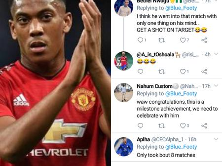 Fans celebrates as Martial got his first shot on target for the season, read reactions on Twitter.