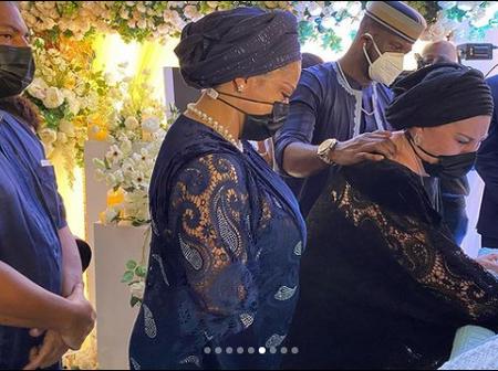 Photos as Peter Okoye's wife, Lola Omotayo says her final goodbye to late father