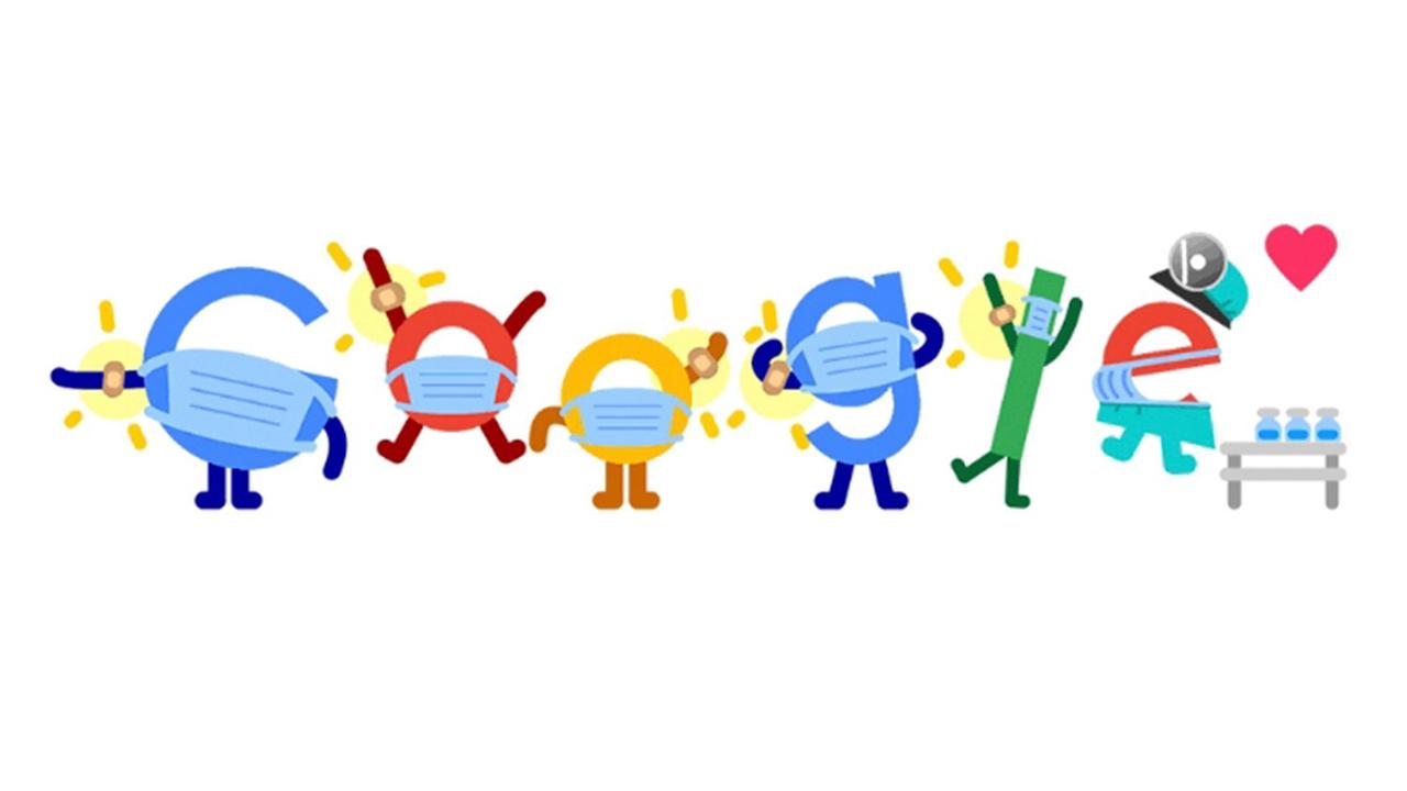Today's Google Doodle encourages people to get the Covid jab and wear a mask