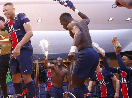 Photos: Mbappe and his PSG teammates celebrating their Champions League victory over Bayern Munich