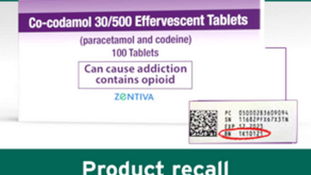 Co-codamol that could result in accidental overdoses urgently recalled