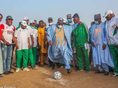 Photos Of Nigeria Senate President, Dr Ahmad Lawan Kick off The Finals Match In Yobe State