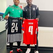 Super Eagles Midfielders Happily Swap Shirts After Europa League Face-off
